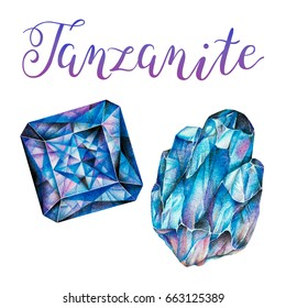 December birthstone Tanzanite isolated on white background. Close up illustration of gems drawn by hand with colored pencils. Realistic faceted stone and crystal with lettering