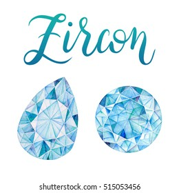 December birthstone Zircon isolated on white background. Close up illustration of gems drawn by hand with watercolor. Realistic faceted stone and crystal