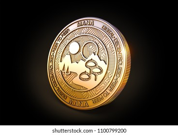 Decentraland MANA - Cryptocurrency Coin on Black Background. 3D rendering.