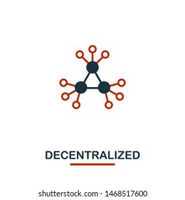 Decentralized icon. Creative two colors design from crypto currency icons collection. Simple pictogram decentralized icon for web design, apps, software, print usage.