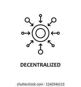 decentralized icon with name. Element of crypto currency for mobile concept and web apps. Thin line decentralized icon can be used for web and mobile