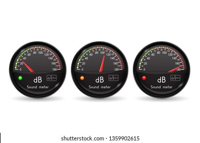 Decibel gauge. Volume unit. Black gauge with chrome frame. 3d illustration isolated on white background. Raster version