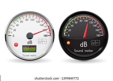 Decibel gauge. Volume unit. Glass gauge with chrome frame. 3d illustration isolated on white background. Raster version