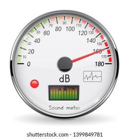 Decibel gauge. Volume unit on high level. Glass gauge with chrome frame. 3d illustration isolated on white background. Raster version