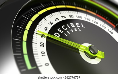 Decibel measurement. Gauge with green needle pointing 30 dB, concept of noise reduction