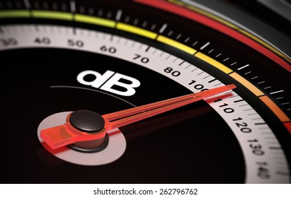 Decibel measurement. Gauge with green needle pointing 105 dB, concept of noise level