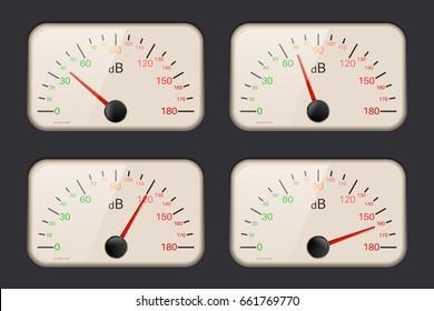 Decibel meters on dark background. 3d illustration. Raster version