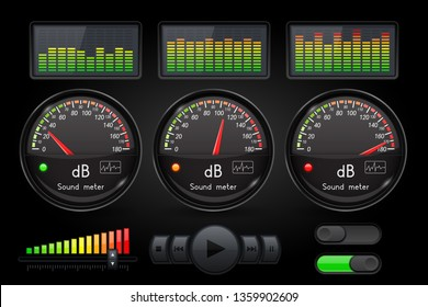 Decibel sound meter with equalizer and buttons. Black user interface. 3d illustration. Raster version