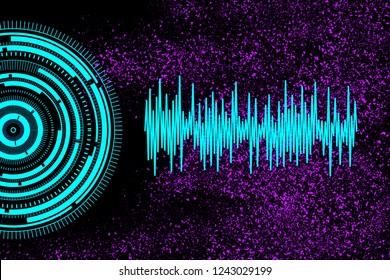 Decibels gauge. Sound audio waves signals. Voice and music waveforms. Modern technology background