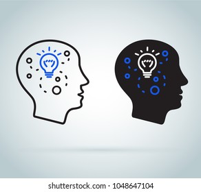 Decision making or emotional intelligence. Positive mindset psychology and neurology, social behavior skills science, creative thinking in human head or learning concept. Icon flat illustration