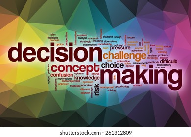 Decision making word cloud concept with abstract background