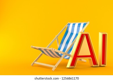Deck chair with all inclusive isolated on orange background. 3d illustration
