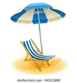 Deck chair with umbrella and beach sand in summer cartoon  illustration