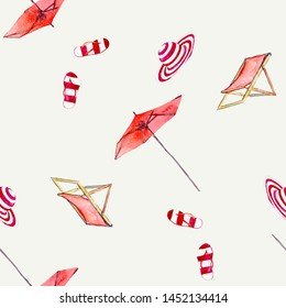 Deck chairs and umbrellas watercolor illustration pattern