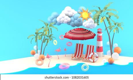 Deck chairs under the beach umbrella on a sand beach under the sunshine. -3d render.