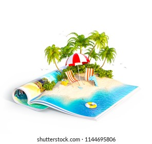Deck chairs under the beach umbrella on a sand beach of beautiful island on opened pages of magazine in summer day. Unusual isolated 3d illustration. Travel and vacation concept