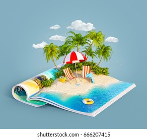 Deck chairs under the beach umbrella on a sand beach of beautiful island on opened pages of magazine in summer day. Unusual 3d illustration. Travel and vacation concept