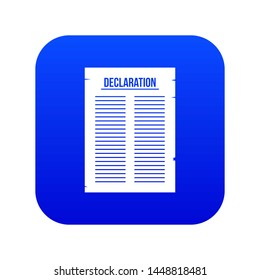 Declaration of independence icon digital blue for any design isolated on white illustration