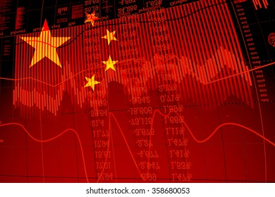 Decline in stock exchange on the graph of the Chinese economy. Flag of China in the double exposure with the graph the stock exchange.