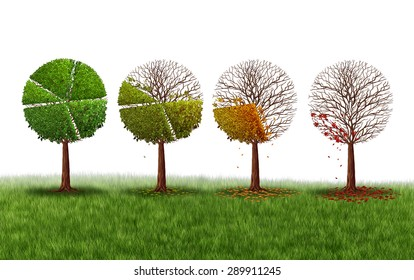 Declining market share concept as a group of trees shaped as a pie chart gradually losing leaves as a financial crisis symbol and investment loss icon on a white background.