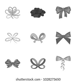 Decor, bows, node, and other web icon in monochrome style.Bow, ribbon, decoration, icons in set collection.