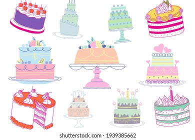 Decorated cakes of various colors. Illustration on a white background.