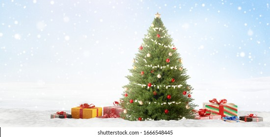 decorated christmas fir tree and presents 3d-illustration