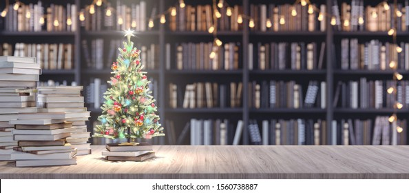 Decorated Christmas tree on Bookshelf in the library with old books, Holidays in Bookstore concept 3d render 3d illustration