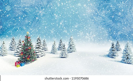 Decorated Christmas tree outdoors falling snow background 3d render 3d illustration