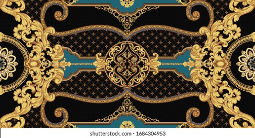 Decorated with elegant and luxurious patterns. Rococo, Baroque style, retro elements, invitation cards, textiles, wrapping paper and fabric design