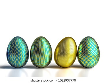 decorated geometric easter eggs 3d rendering image