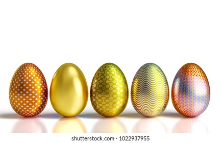 decorated golden easter eggs 3d rendering image