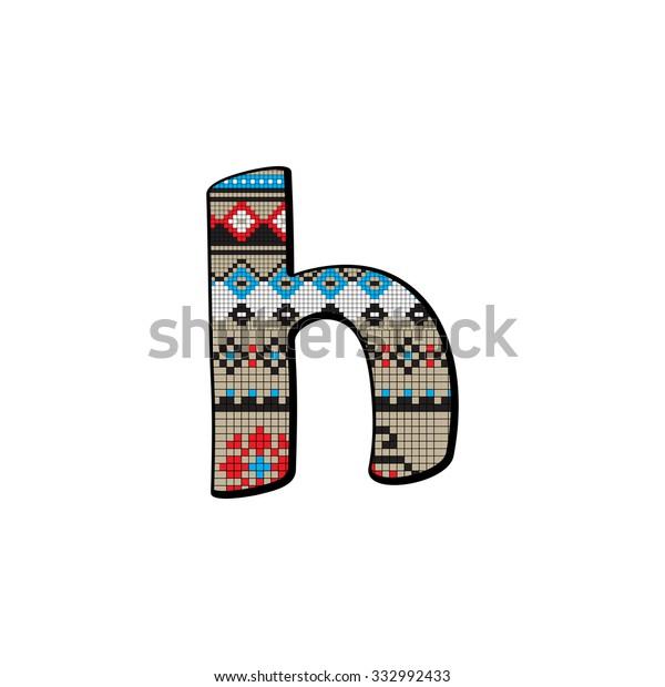 Decorated Original Font Pixel Art Ethnic Stock Illustration