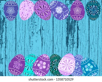 Decorated painted textured Easter egg illustration in purple green and turquoise on an aqua blue weathered hires wood grain background with peeling paint. Spring holiday backdrop graphic elements