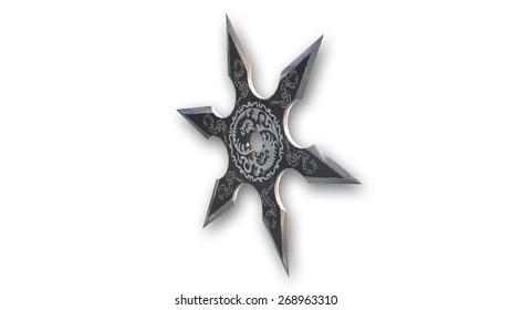Decorated shuriken weapon, ninja star isolated on white background
