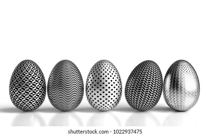 decorated silver easter eggs 3d rendering image