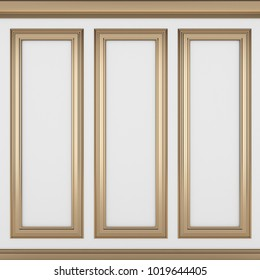 decoration classic white wall ,3d render