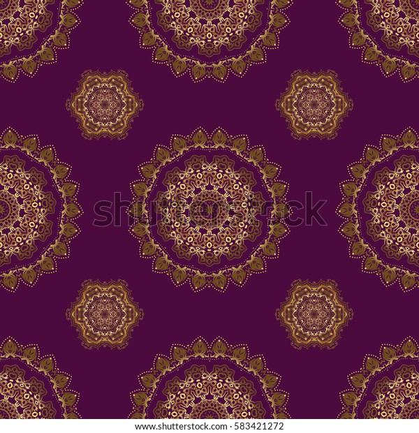 Decoration for fabric, textile, interior. Handmade golden elements on purple background. Vintage seamless floral pattern.