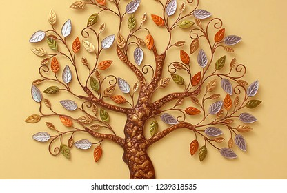 Decorative 3D tree with trunk and branches on yellow background