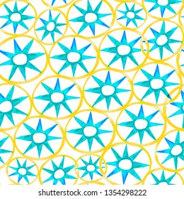 Decorative abstract pattern for textile and design. Yellow and blue circles and stars hand drawn. Repeating geometric round and star tiles isolated on white background