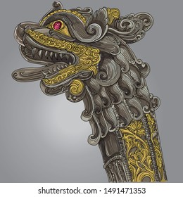 A decorative artistic long sword handle, with a lion head and gold on gray background. 2d illustration