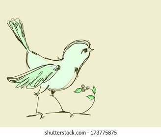 Decorative Background With A Bird On Branch