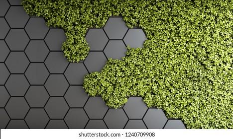 Decorative background of green vertical garden. 3D illustration.