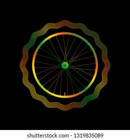 Decorative Bike Rim with Bright Gradient. Guilloche Frame. Illustration on a Black Background.