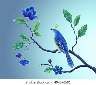 decorative bird, songbird illustration, Asian flowers and leaves, exotic nature clip art, oriental floral design background
