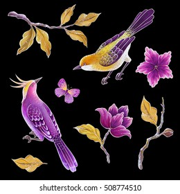 decorative bird, songbirds illustration, butterfly, flowers and leaves, exotic nature clip art set, floral design elements isolated on black background