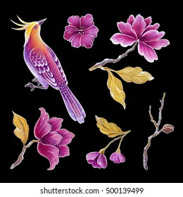decorative bird, songbirds illustration, flowers and leaves, exotic nature clip art set, floral design elements isolated on black background