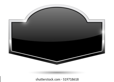 Decorative black button with chrome frame. 3d illustration isolated on white background. Raster version