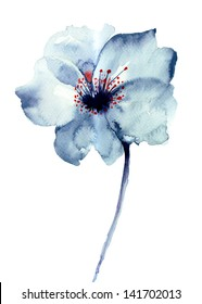 Decorative blue flower, watercolor illustration