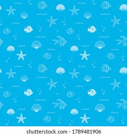 decorative blue seamless pattern with seashells and fish - background
